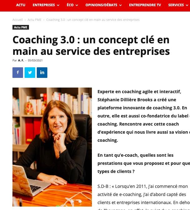 Article sur le coaching 3.0 paru dans le numéro 345 mensuel économique Entreprendre